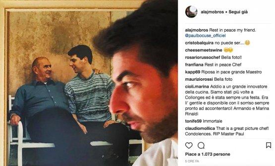 Il saluto su instagram di Massimiliano Alajmo. Bocuse era stato in visita alle Calandre solo poche settimane fa