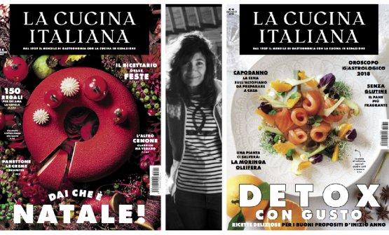 Le copertine di dicembre e gennaio de La Cucina Italiana con, al centro, Maddalena Fossati