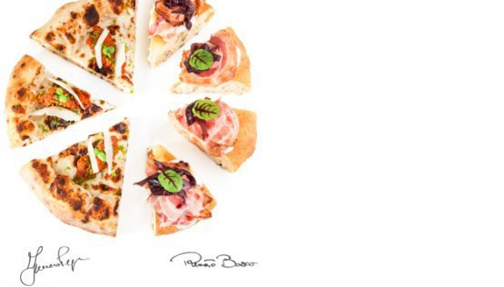 2018:La PizzafromFranco PepeandRenato Bosco  In 2018 the emblem dish was pizza. Not just one pizza, but two, to unite Italy under the same image. In the photo, seven slices stand out. The three on the left are fromFranco Pepe, the four on the right are fromRenato Bosco. Campania, where pizza was born, and Veneto, the region where pizza was reborn thanks toSimone PadoanandBoscohimself. Pure conviviality, the innovation of an ancient product, of men and their knowledge, before any possible dough or baking technique