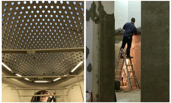 Lavori in corso nella struttura. A sinistra, la grande sala ovale con oblò sul soffitto a volta, sede di conferenze e manifestazioni