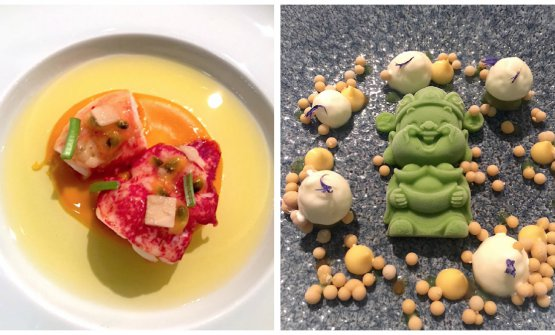 Two dishes from Tim Raue:Lobster, carrot and coriander and the dessert,Passion fruit, Tonka beans and cucumber
