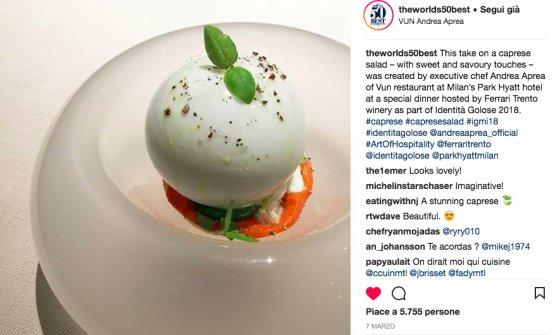 Il post sulla Caprese di Aprea di World's 50Best su instagram