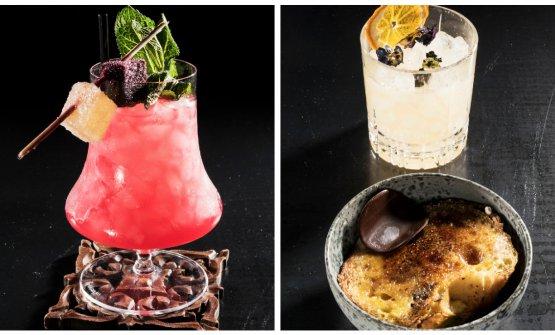 A sinistra il cocktail Sal'n' Pepper, a destra il Punch accompagnato dal pan perdu. Viene presentato liquido e poi mantecato all'azoto