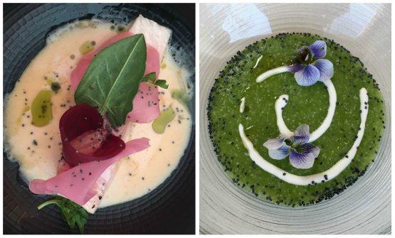 Due altri piatti della Klugmann: Trota, barbabietola in aceto di fava tonka, siero di latte, semi di papavero tostati e Polentina verde alle erbe