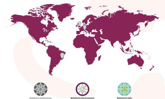 La mappa dei Refettori. Manca l'ultimo già attivo, quello di Parigi