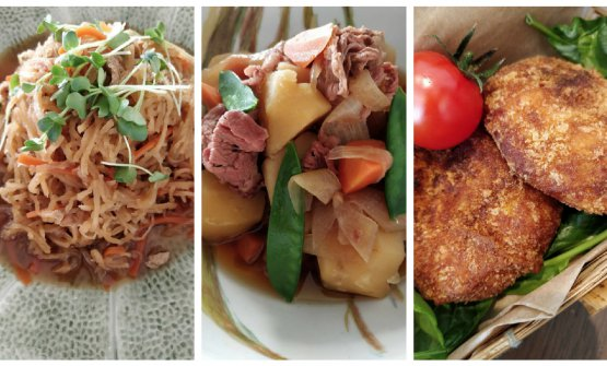Alcuni piatti della Gastronomia Yamamoto: da sinistra Niku Jyaga, ossia una specialità a base di carne, patate e cipolle;Kiriboshi daikon, ovvero radice di daikon essiccata; infine le cosiddettecorocche, crocchette di patate alla giapponese