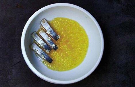 Aringhe pickled consemi di rapa e fiori di sambuco