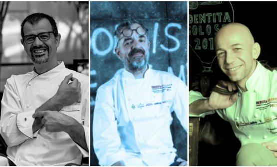 Antonio Guida, Mauro Uliassi e Riccardo Camanini nei tre colori con i quali li interpreta Fulvio Marcello Zendrini