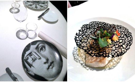 I piatti di Fornasetti eRombo con patate affumicate, albicocche e salsa con ostricheal Seta, da Antonio Guida