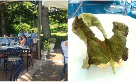 La natura circostante eTartare di pesce persico, foglie di fico e semi di girasoleal Lido 84 di Riccardo Camanini