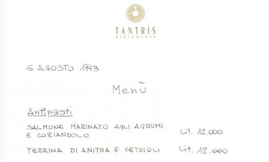 Il primo menu del Tantris, 6 agosto 1993