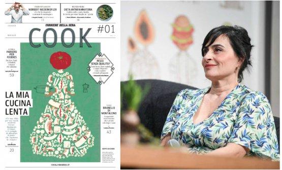 La prima pagina del primo numero di Cook e, sulla destra, la sua responsabile editoriale, Angela Frenda