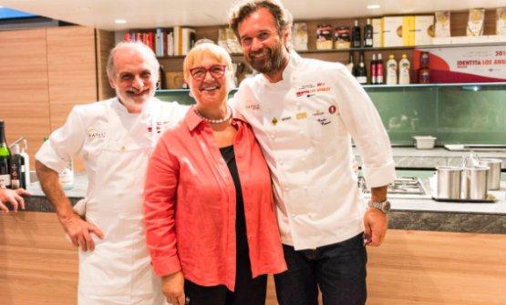Corrado Assenza, Lidia Bastianich e Carlo Cracco,