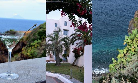 A sinistra:Martini Eoliano (gin, finocchietto, gamberetto di Nassa marinato nel Martini dry) offerto sulla terrazza dell'Hotel Santa Isabel di Salina, nella foto al centro
