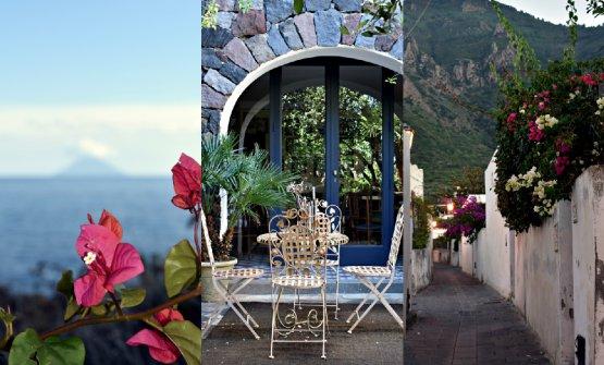 Sulla sinistra, bouganville e Stromboli. Al centro,un angolo relax dell'Hotel Signum. A destra, crepuscolo a Salina