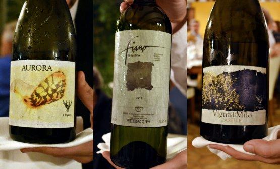 Tre assaggi:Aurorae Vigna di Milo Etna Bianco Doc deI Vigneri di Salvo Foti; il Fiano di Avellino diPietracupa