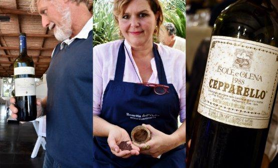 A sinistra: Ivo Basilee il Nozze d'Oro 2006.Al centro:Bonetta dell'Oglioe i semi che usa per preparare la sua magnifica senape siciliana. A destra,Cepparello 1988 diIsole e Olena, dalla cantina del ristorante Tenda Rossa