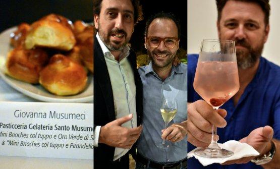 A sinistra,il gelato artigianale e le mini brioches di Giovanna Musumeci. Al centro, Luca Caruso e Luciano Pennisi di Macelleria Pennisi a Linguaglossa sull'Etna. A destra,Thomas Barker e il suo Pink Gin
