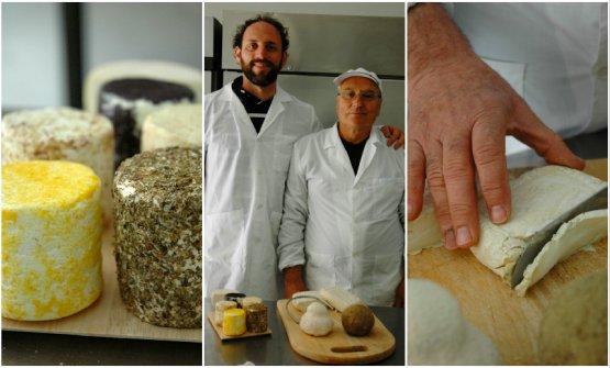 Al centro, Davide Lonardo e Giacomo Gatì davanti al prodotto della loro arte. A sinistra alcune forme di robiole aromatizzate. A destraMuscio, il formaggio da latte di capra girgentana preferito di Ciccio Sultano