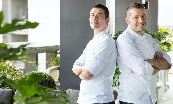 Gli chef Vincenzo e Antonio Lebanosulla Terrazza Gallia