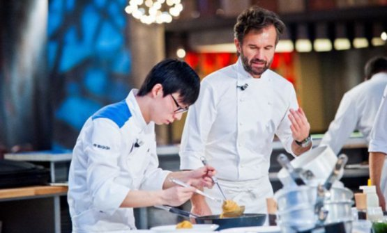 Chang Liu con Carlo Cracco ai tempi di Hell's Kitchen