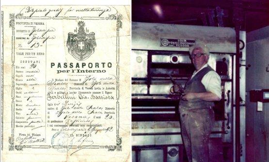 """Il passaporto diGiovanni Battista Perbellini, bisnonno diPierluigi: data 1892, professione """"pasticcere"""". A destra, nonnoErnesto Perbellini nel 1970"""
