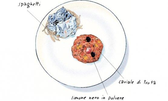 Il disegno degliSpaghetti al caviale di trota e limone nero in polvere