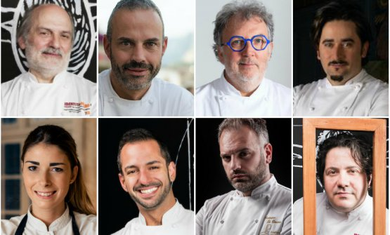 Gli otto relatori di Pasticceria italiana contempo