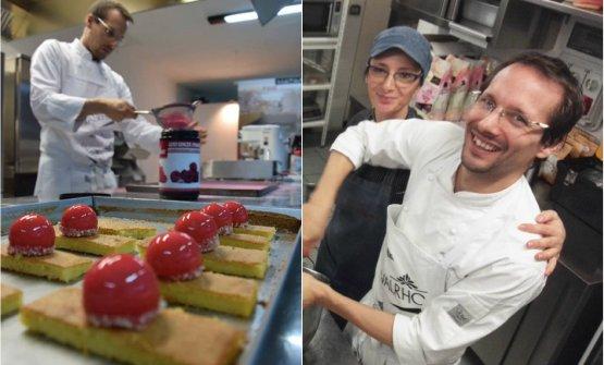 Due immagini di Franco Ascari al lavoro