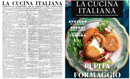 Primo e ultimo numero de La Cucina Italiana: a sinistra quello del dicembre 1929, a destra quello del marzo 2019