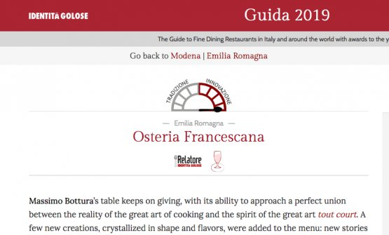 The English review of Osteria Francescana, Modena