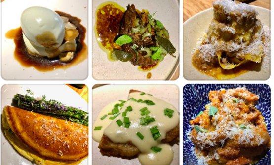 Un collage di piatti dal nuovo corso di Marzapane,