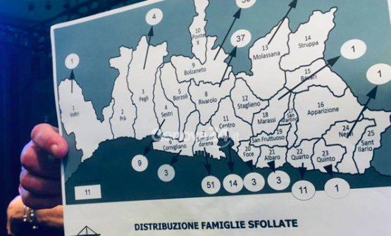 Una mappa che mostra dove sono state trasferite le famiglie degli sfollati