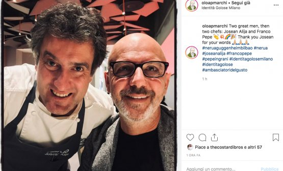 From theInstagramprofile ofPaolo Marchi,Josean AlijawithFranco Pepe. The pizzaiolo from Caiazzo participated in the dinner with the chef fromNeruaatIdentità Golose Milano