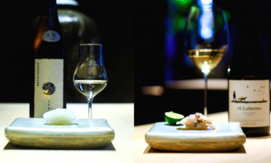 Two examples of pairing, with sake and wine