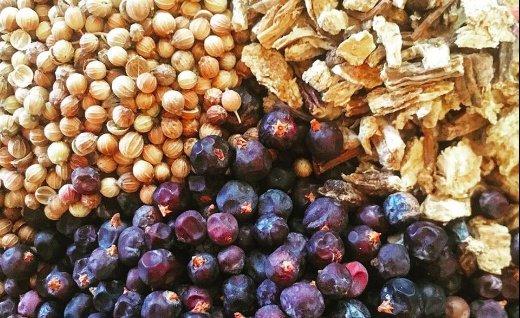 Bacche di ginepro, radice di angelica, semi di coriandolo, la sacra triade di Eugin