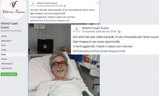 Il post su Facebook con il quale Vittorio Fusari d