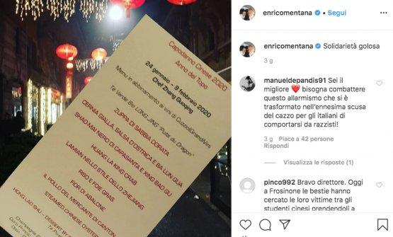 Il post su Instagram di Enrico Mentana