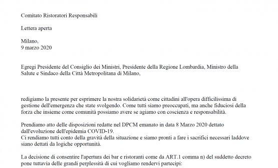 La lettera aperta dei Comitato Ristoratori Respons