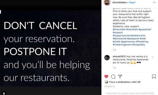 """AnchePaulo Airaudo, del ristorante Amelia diSan Sebastián, ha lanciato già due giorni fa lo stesso appello del Noma,sul suo profilo Instagram: """"Non cancellate le vostre prenotazioni ai ristoranti. Posponetele, e così li aiuterete"""""""