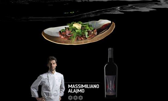 IlRognone grigliato con sorbetto di senape abbinato da Massimiliano Alajmo col Primitivo di manduria Raccontami di Bruno Vespa