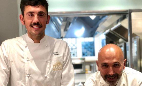 Enrico Marmo e, seduto,Andrea Ribaldone, chef e