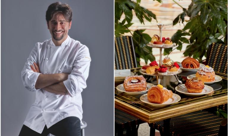 A sinistra, Marco Pedron, pastry chef al Cracco in Galleria. A destra, alcune delle sue creazioni