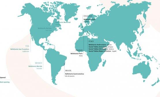 La mappa dei Refettori e delle Social Table di Food For Soul nel mondo