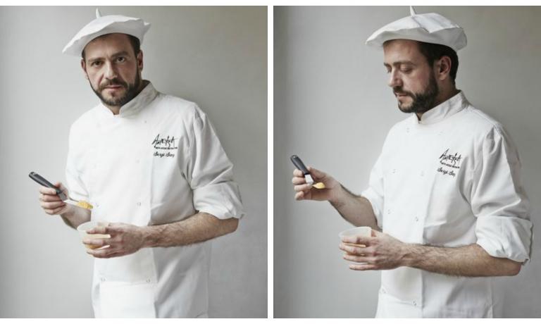 """L'executive chef di Ametsa (che significa """"sogno"""" in basco), Sergio Sanz Blanco"""