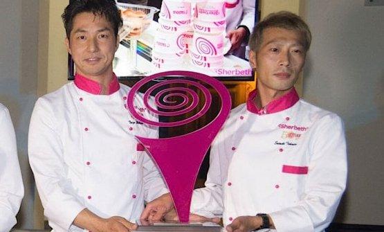 I due gelatieri giapponesi vincitori del concorso per il miglior gelato all'edizione 2017 dello Sherbeth Festival a Palermo. A sinistra Taizo Shibano e a destra Satoshi Takada