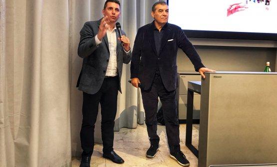 """Andrea Sinigaglia, a sinistra, Direttore Generale di ALMA, e Claudio Ceroni, presidente di Magenta Bureau, hanno dato il benvenuto ai partecipanti al primo appuntamento de """"Il Ristorante del Futuro"""""""