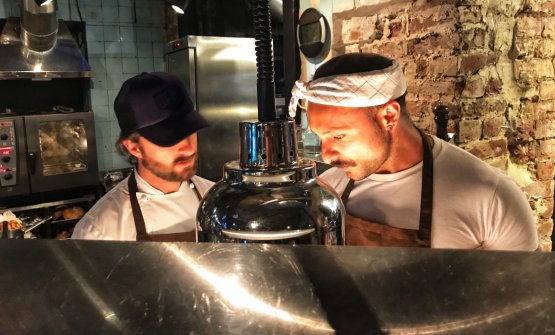 Diego Rossi and Federico Sisti at work at Beef Zavod