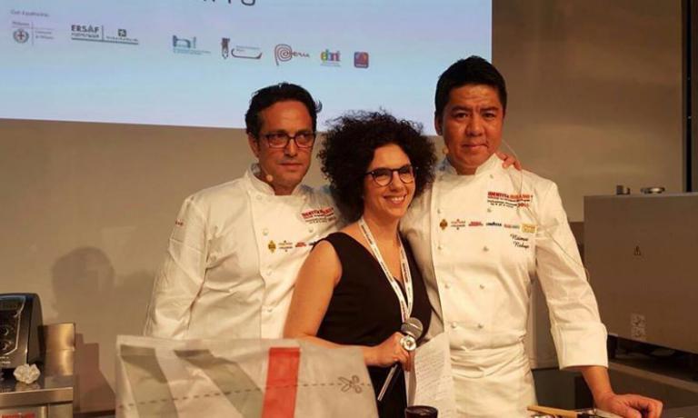 Nazario BiscottieNiimori Nobuya. Con loro, la giornalista Sonia Gioia, moderatrice per l'occasione