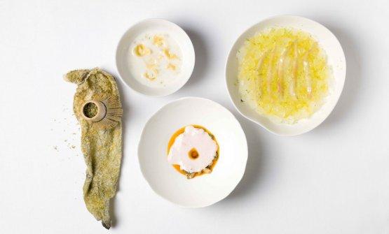 La Zuppa di pesce inaspettata diYannick AllénoeMartino Ruggieri, rispettivamente chef e chefadjoint del Pavillon Ledoyen di Parigi. Il francese e l'italiano terrano due lezioni a Identità Milano, 3-5 marzo 2018: Auditorium e Identità di pasta